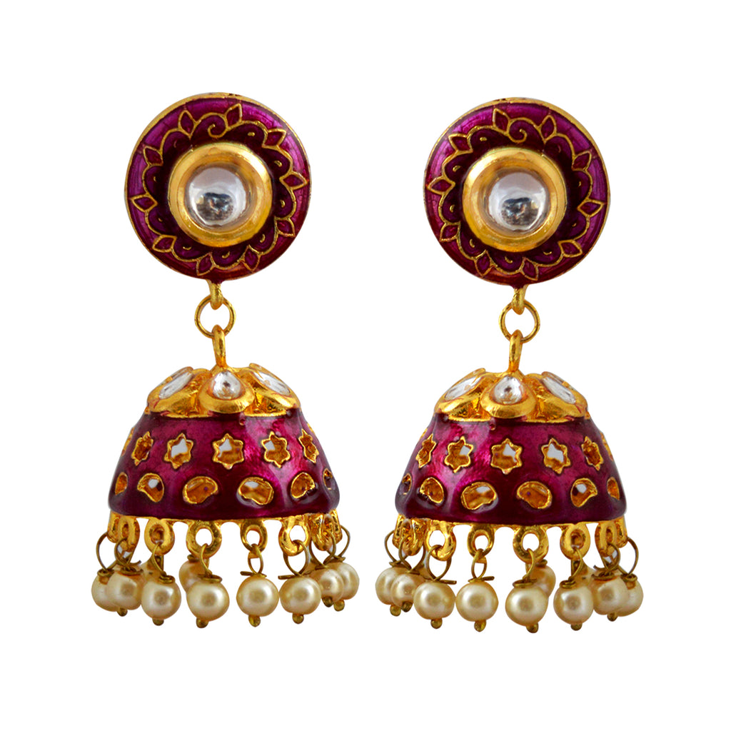 Purple Color Star Design Pattern With Kundan Stone Meenakari Jhumka Earring-MK JEWELLERS1-Earring
