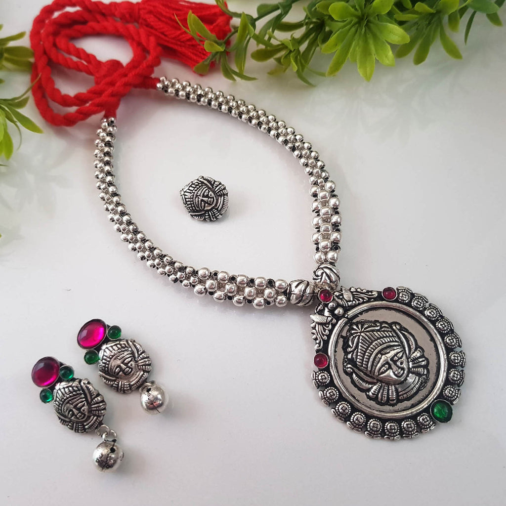 Oxidised German Silver Durga Design Pendant Thushi Necklace Set With Nose Pin