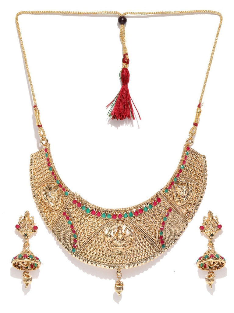 Zaveri Pearls Gold Tone Finely Detailed Lakshmi Temple Choker Necklace Set