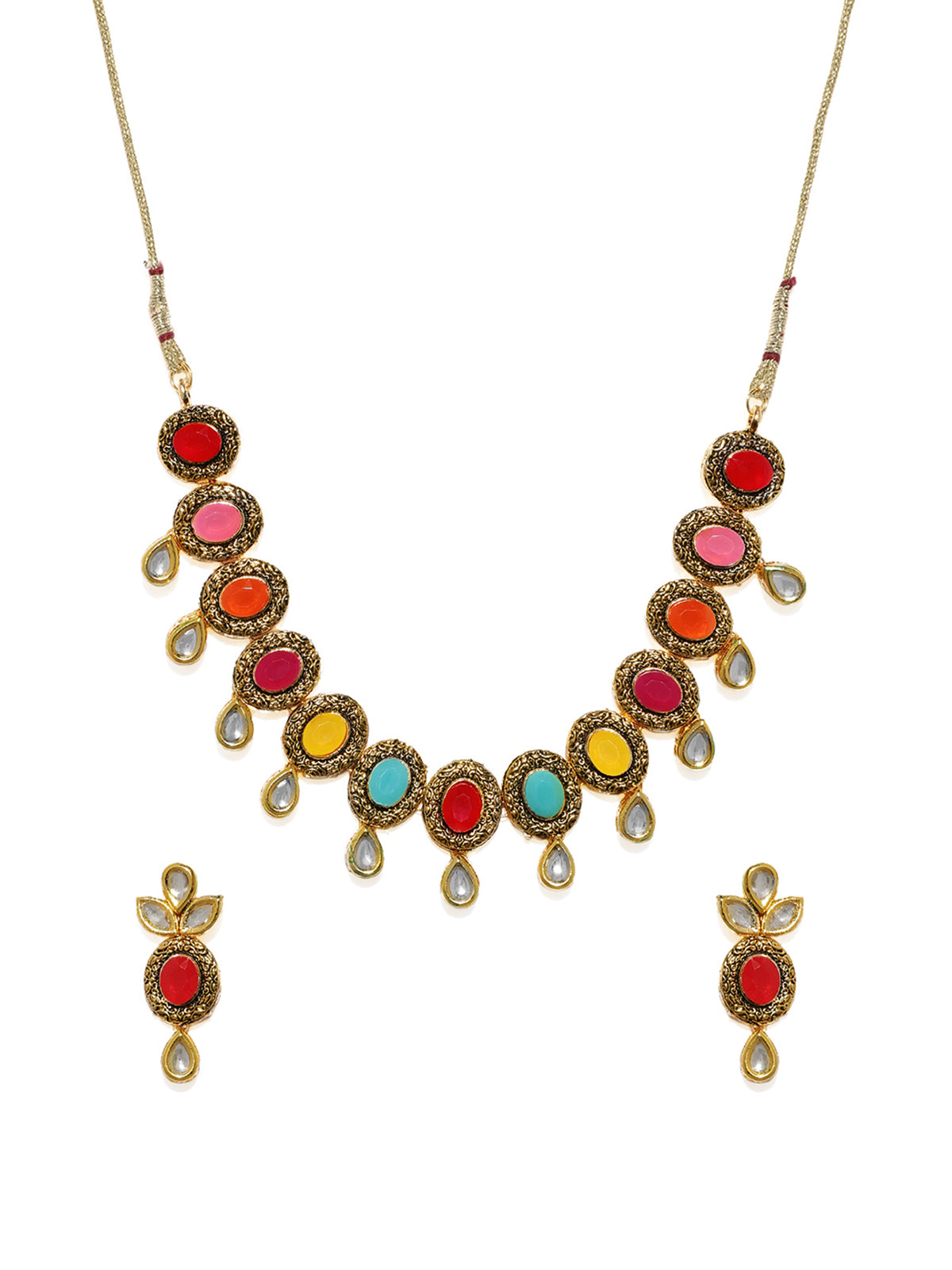 Zaveri Pearls Antique Gold Tone Multicolor Stones And Kundan Necklace Set-ZAVERI PEARLS1-Necklace Set