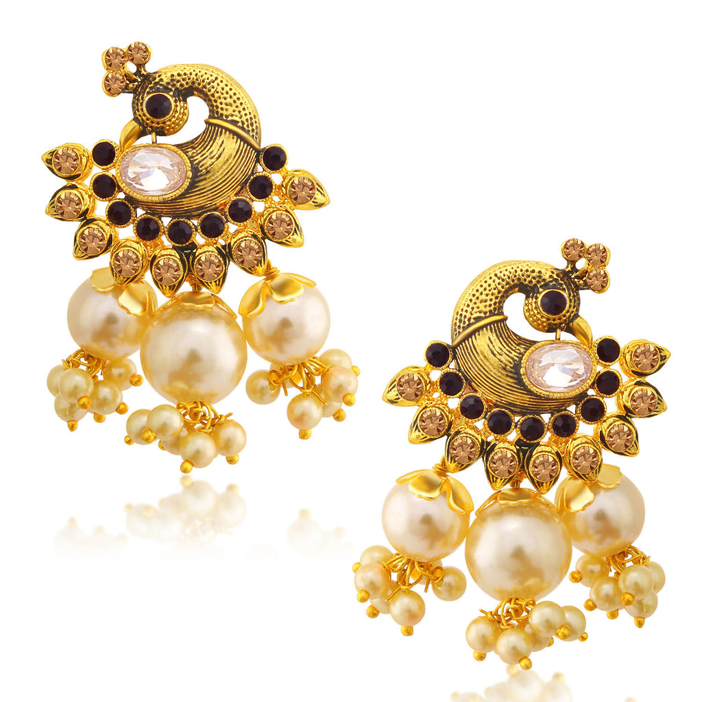Sukkhi Brilliant LCT Stone Gold Plated Pearl Peacock Dangle Earring For Women-SUKKHI1-Earring