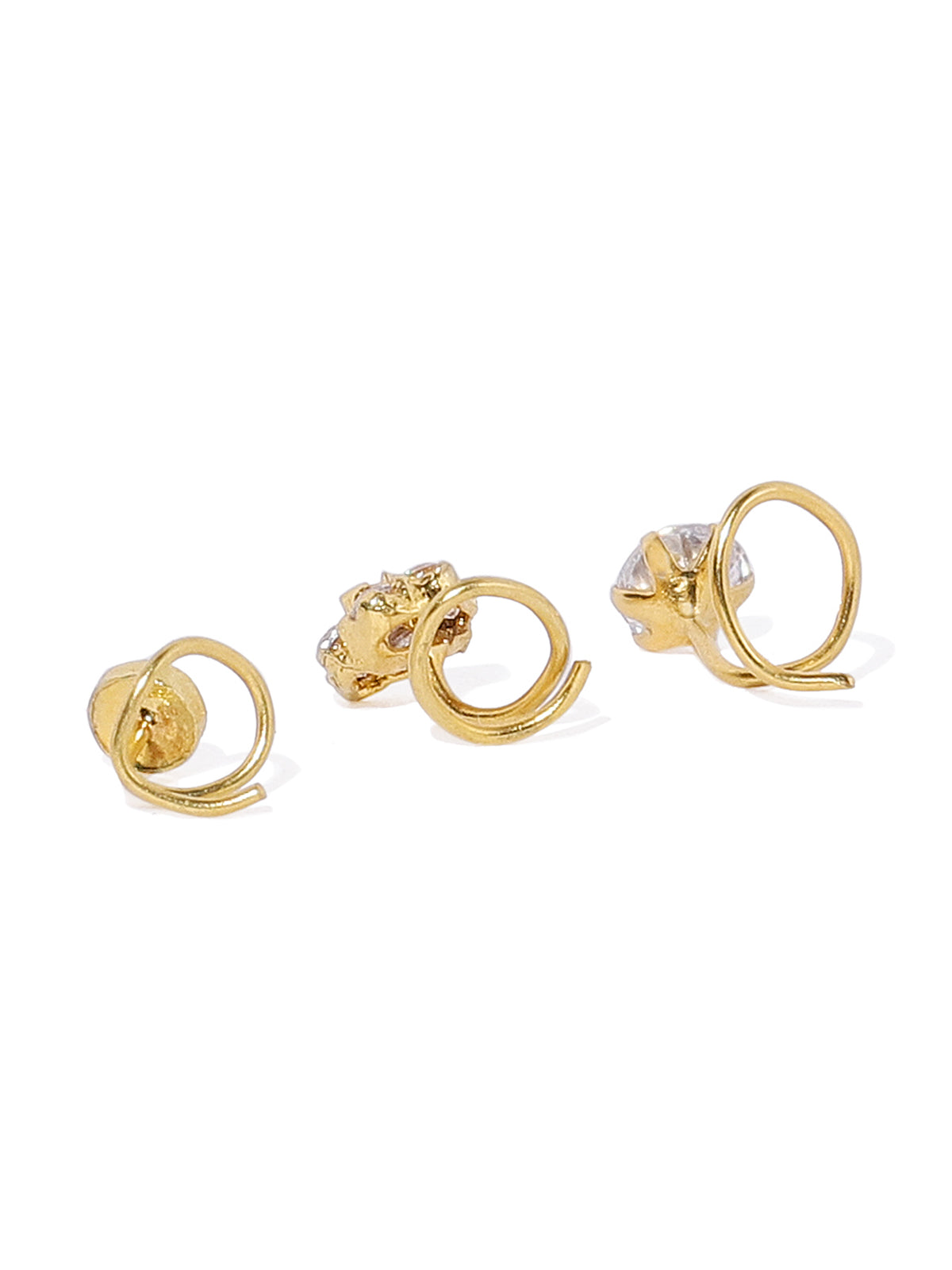 Combo Of 3 Zaveri Pearls Gold Tone Nose Ring-ZAVERI PEARLS1-Nose Ring