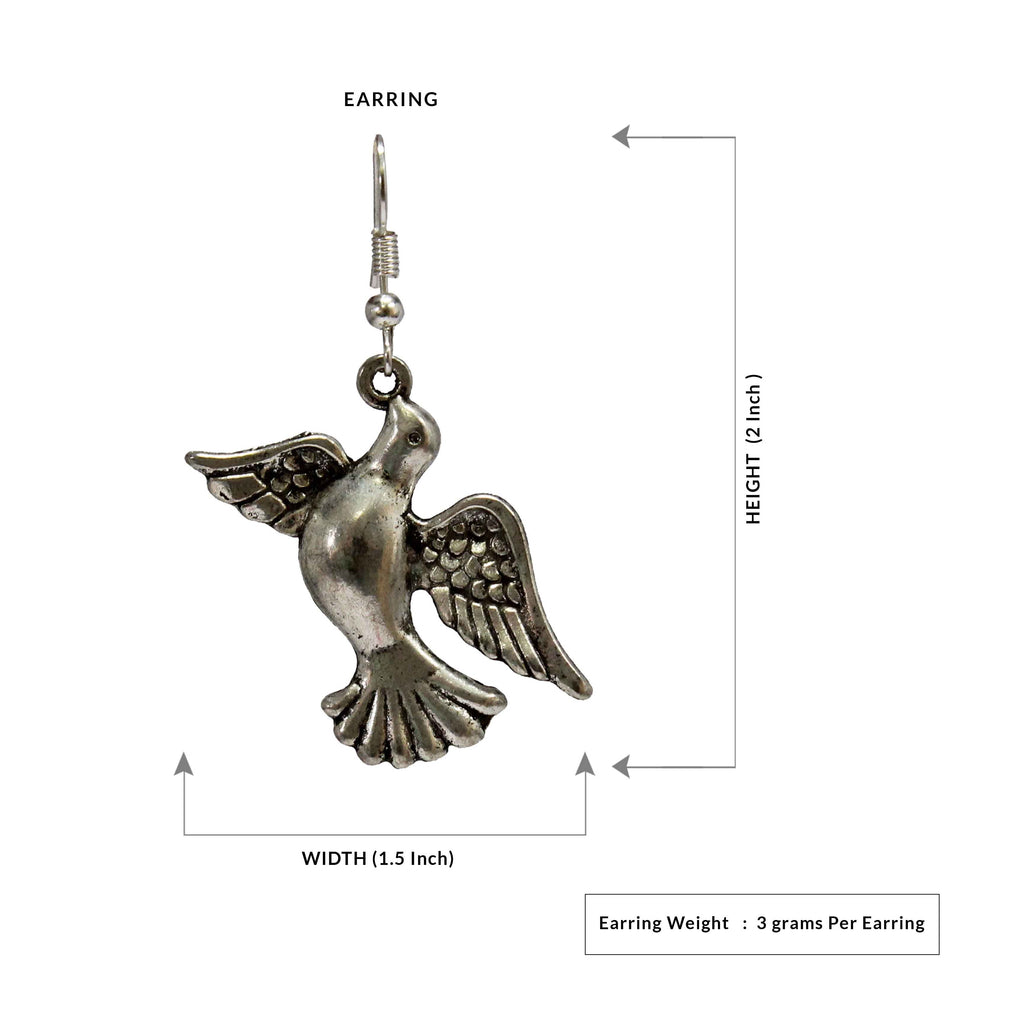 Dove Design German Silver Oxidized Earring