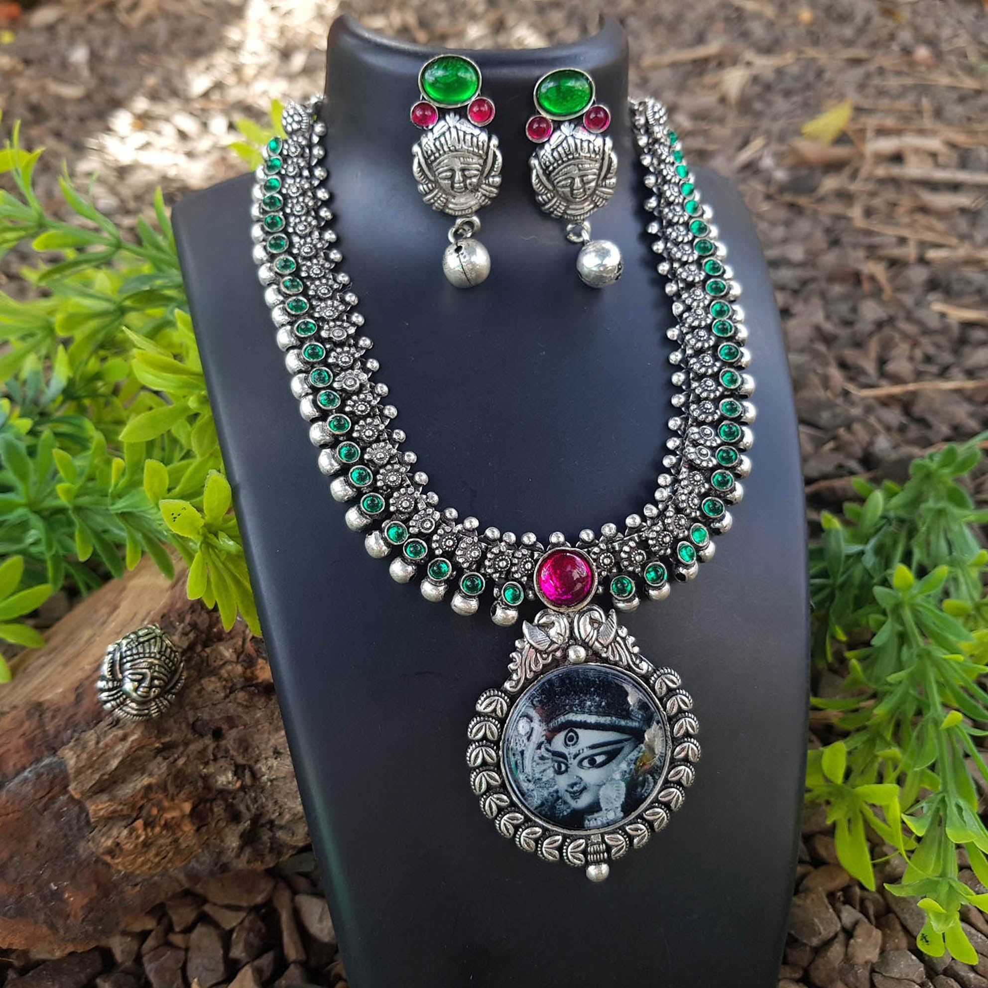 Oxidised German Silver Durga Pendant Design And full stone Necklace Set With Nose Pin
