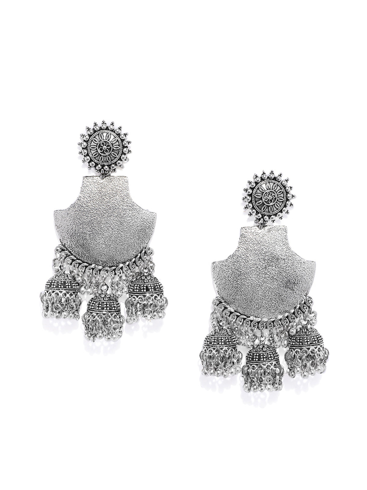 Zaveri Pearls Silver Tone Finely Textured Dangling Jhumki Earring