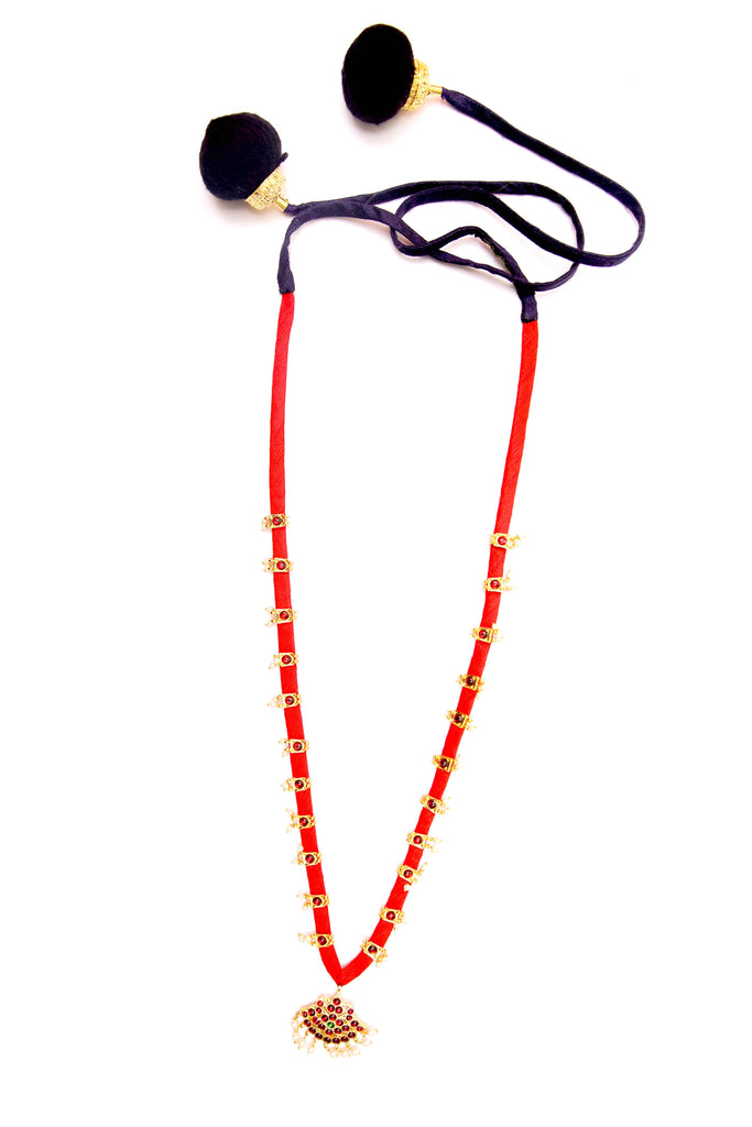 Red Color Single Rani Contemporary Temple Necklace