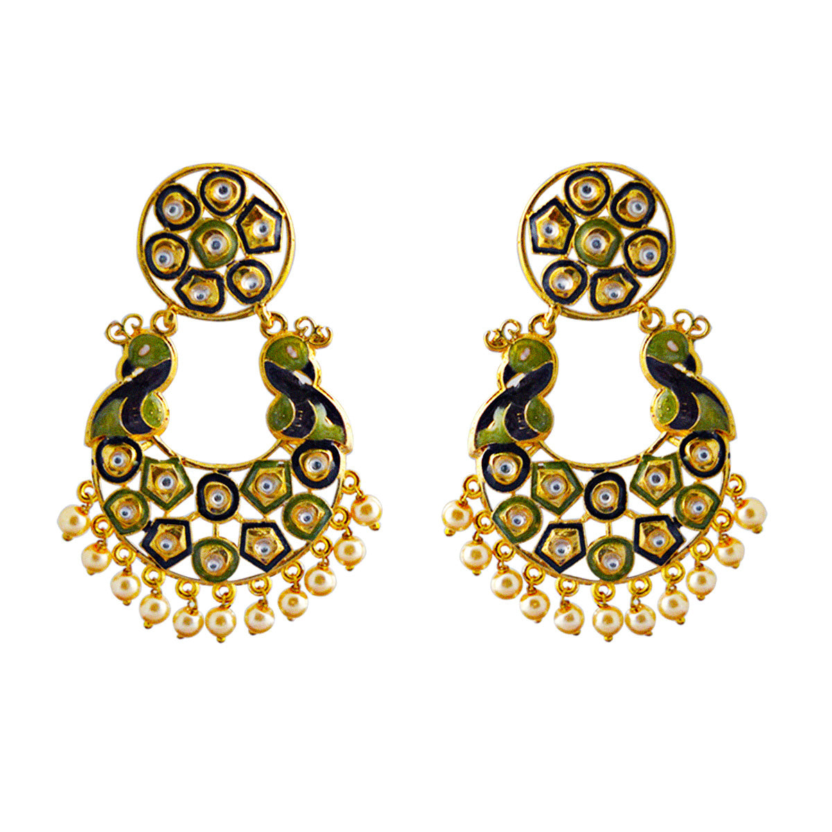 Mk Jewellers Green And Black Meenakari Circle Dual Peacock Kundan Dangler Earring-MK JEWELLERS1-Earring