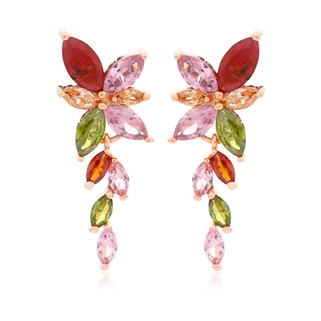 Sukkhi Gold Plated Sparkling Dangling Multicolour Floral Design Stud Earring-SUKKHI-Earring