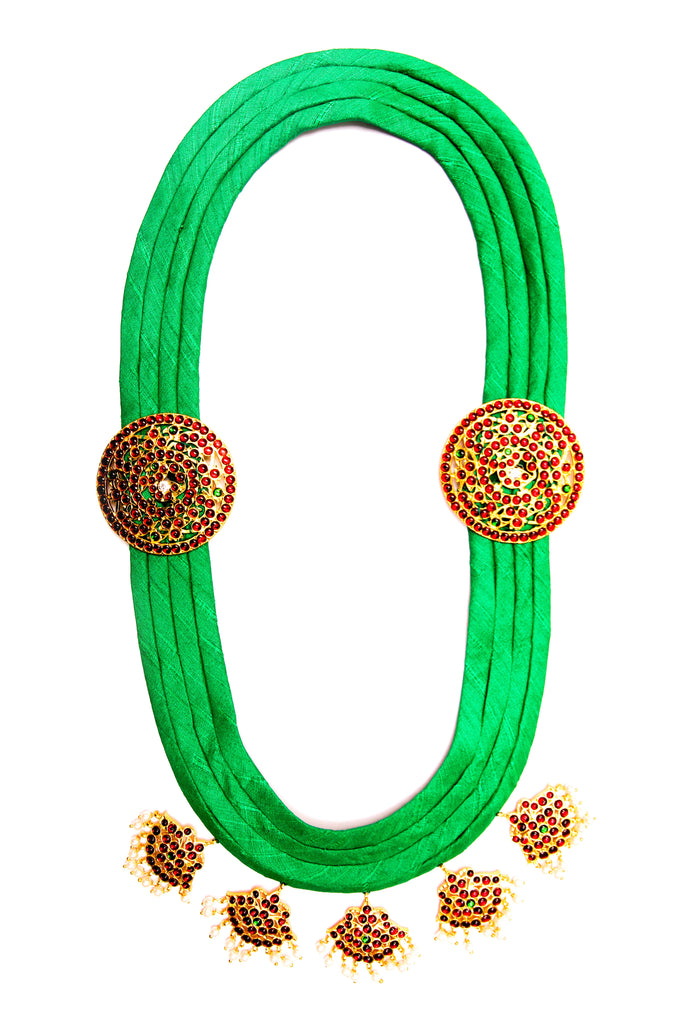 Green Color Pooja Contemporary Temple Necklace