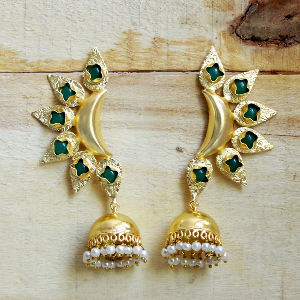 Matt Gold Antique Finish  Stud Jhumki Earring