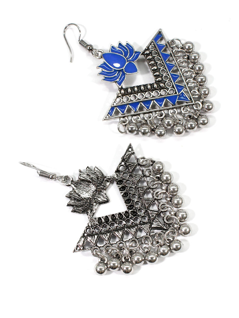 Aana Silver Plated Blue Color Lotus Design Afghani Earring-AANA1-Earring