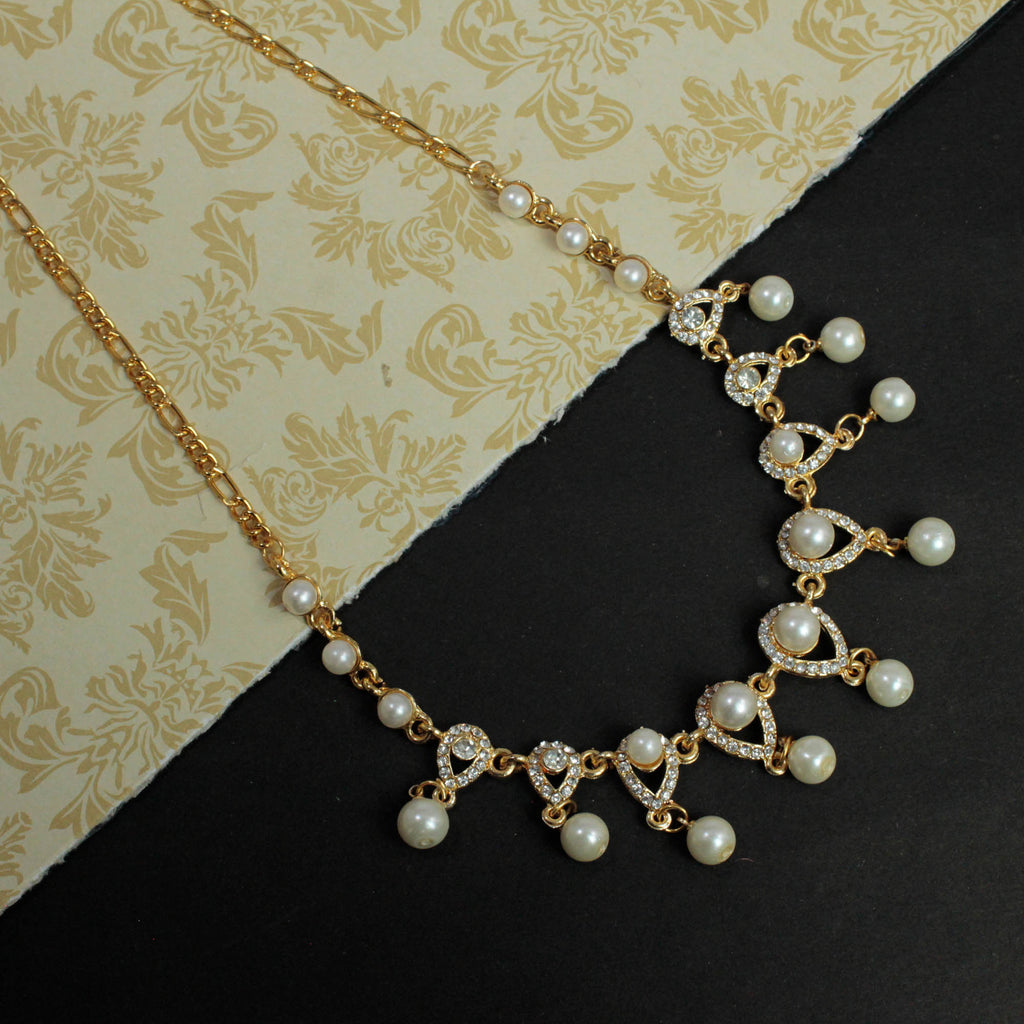 Antique Gold Water Drop Design Pearl Necklace