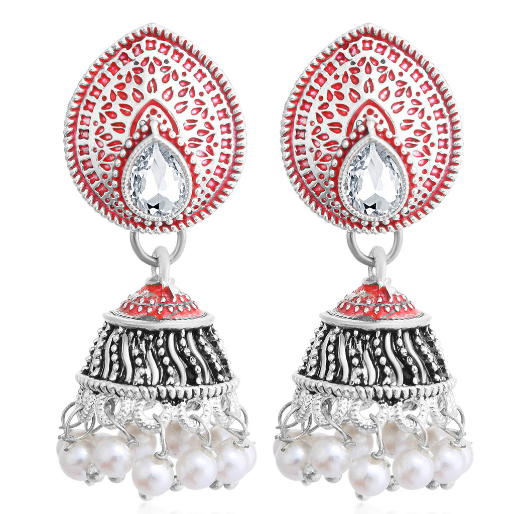 Sukkhi Spectacular Oxidised Pearl Meenakari Jhumki Earring For Women-SUKKHI1-Earring