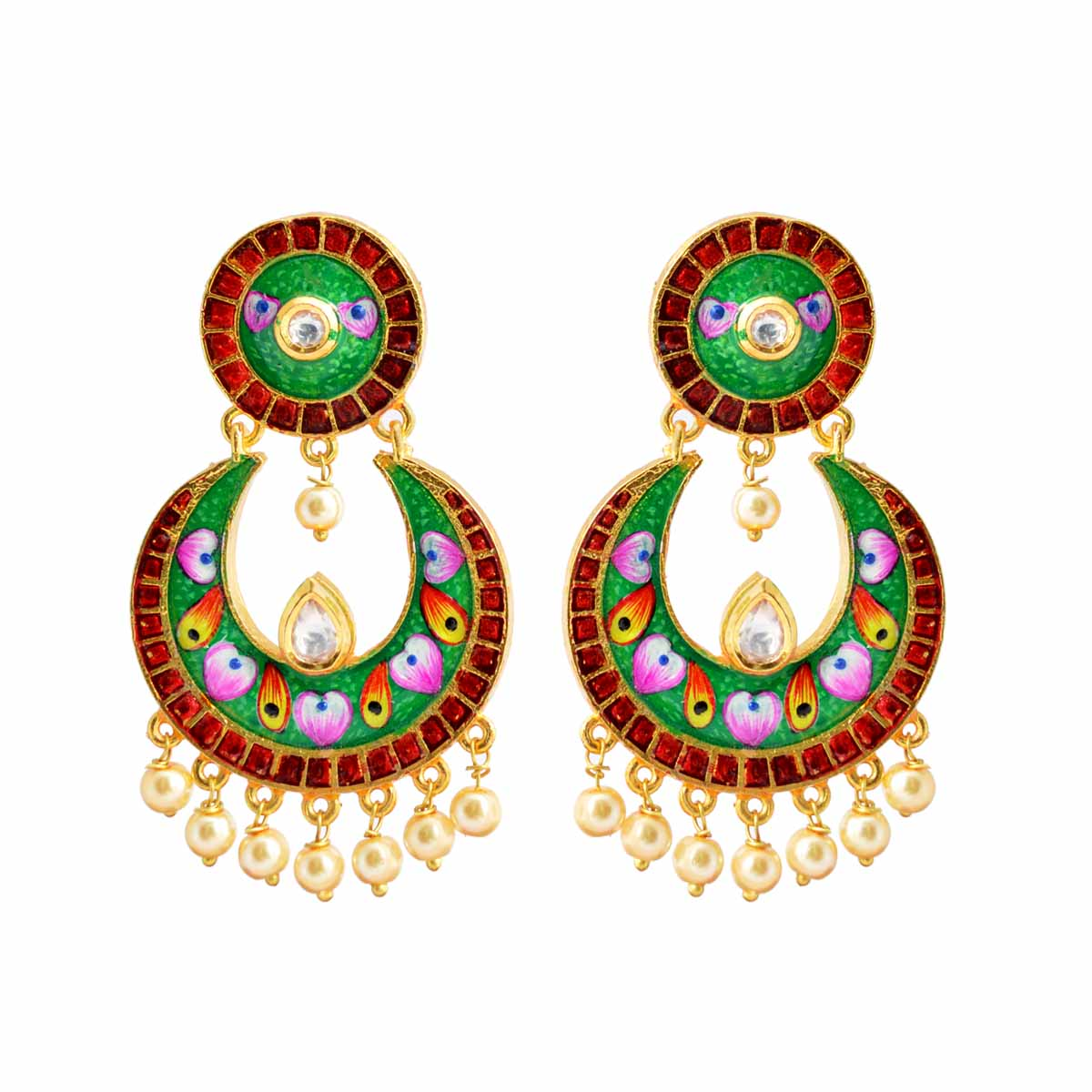 Multicolor Floral Design Meenakari Dangler Stud Earring With Kundan Stone