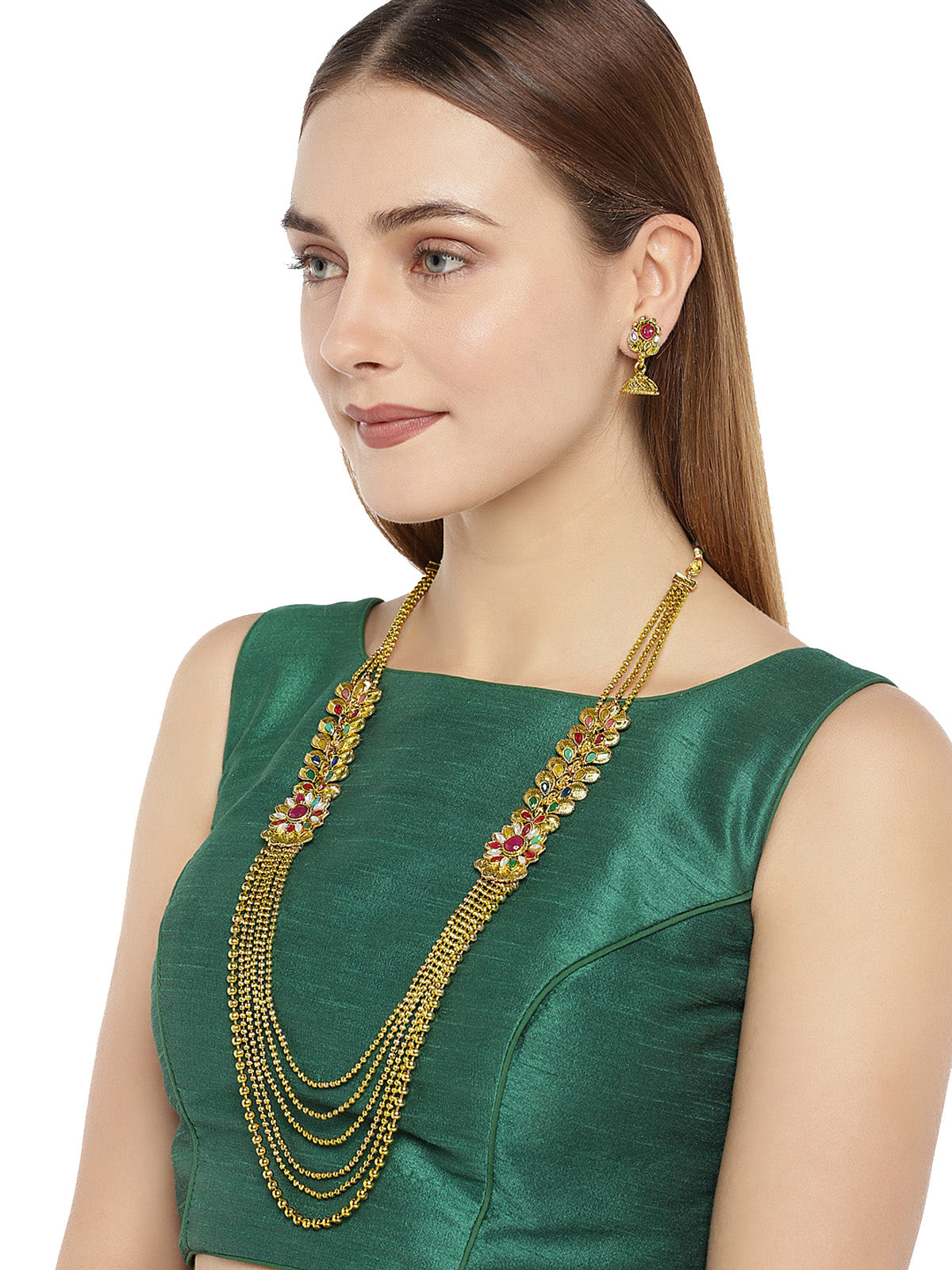 Zaveri Pearls Antique Gold Tone Multi layer Long Necklace Set-ZAVERI PEARLS1-Necklace Set