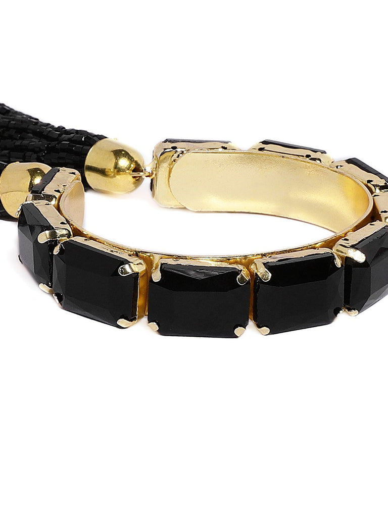 Crystal Shine Contemporary Black Charm Bracelet