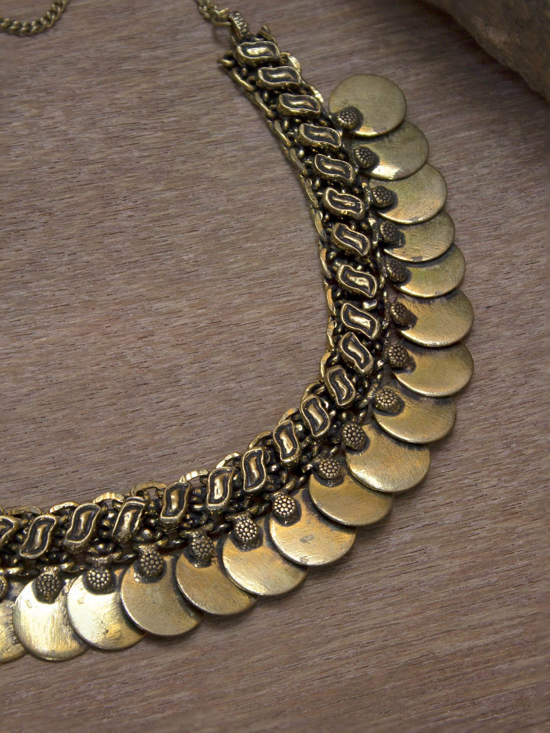 Gold Plated Coin Design Kasu Mala Choker Necklace-OXIDIZED-Necklace
