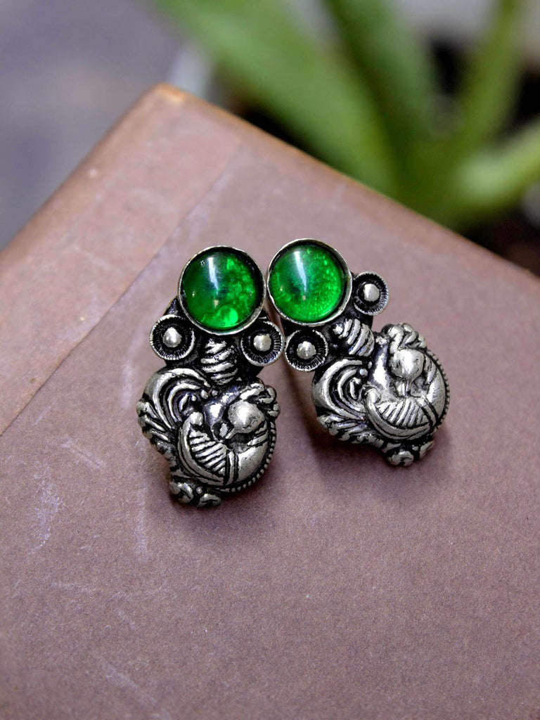 Silver Plated Green Color Plastic Stone Peacock Design Stud Earring-OXIDIZED-Earring