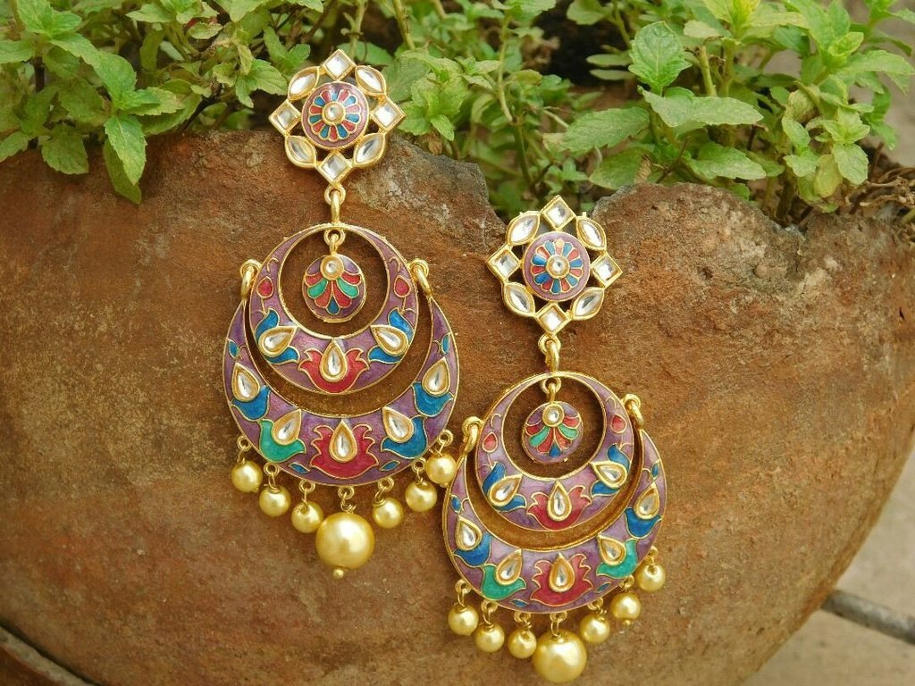 Multicolor Ramleela Pearl Dropping Earring