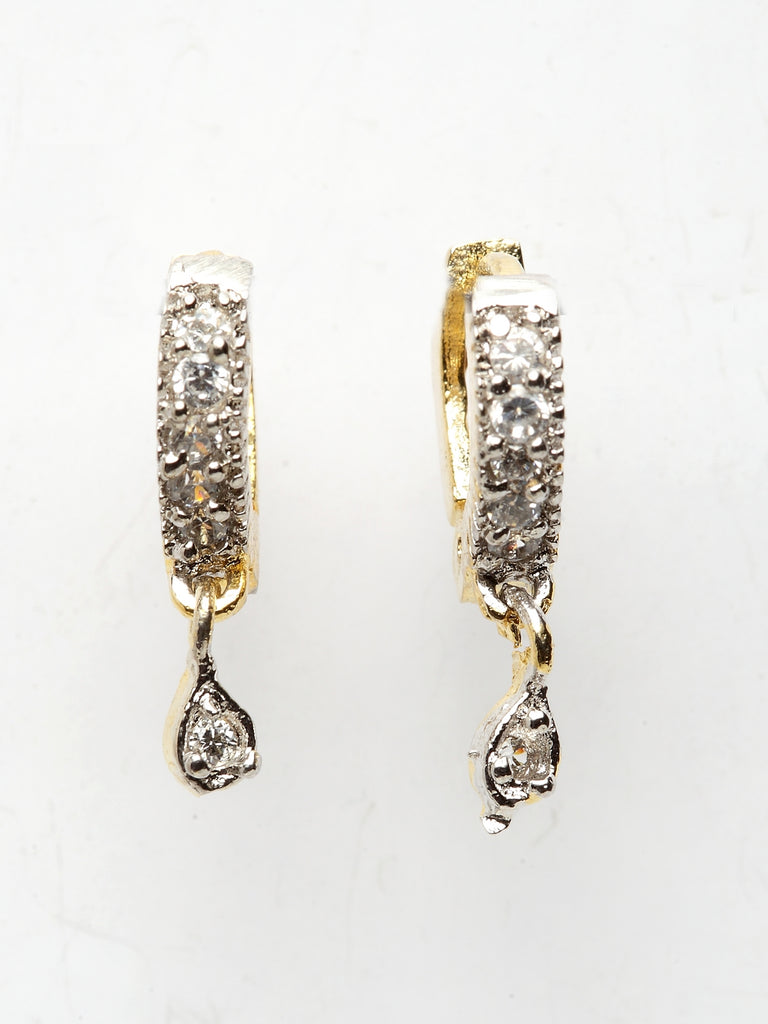 Gold Plated Geometric Design With American Diamond Stones Hoop Earring-ARADHYAA JEWEL ARTS-Earring