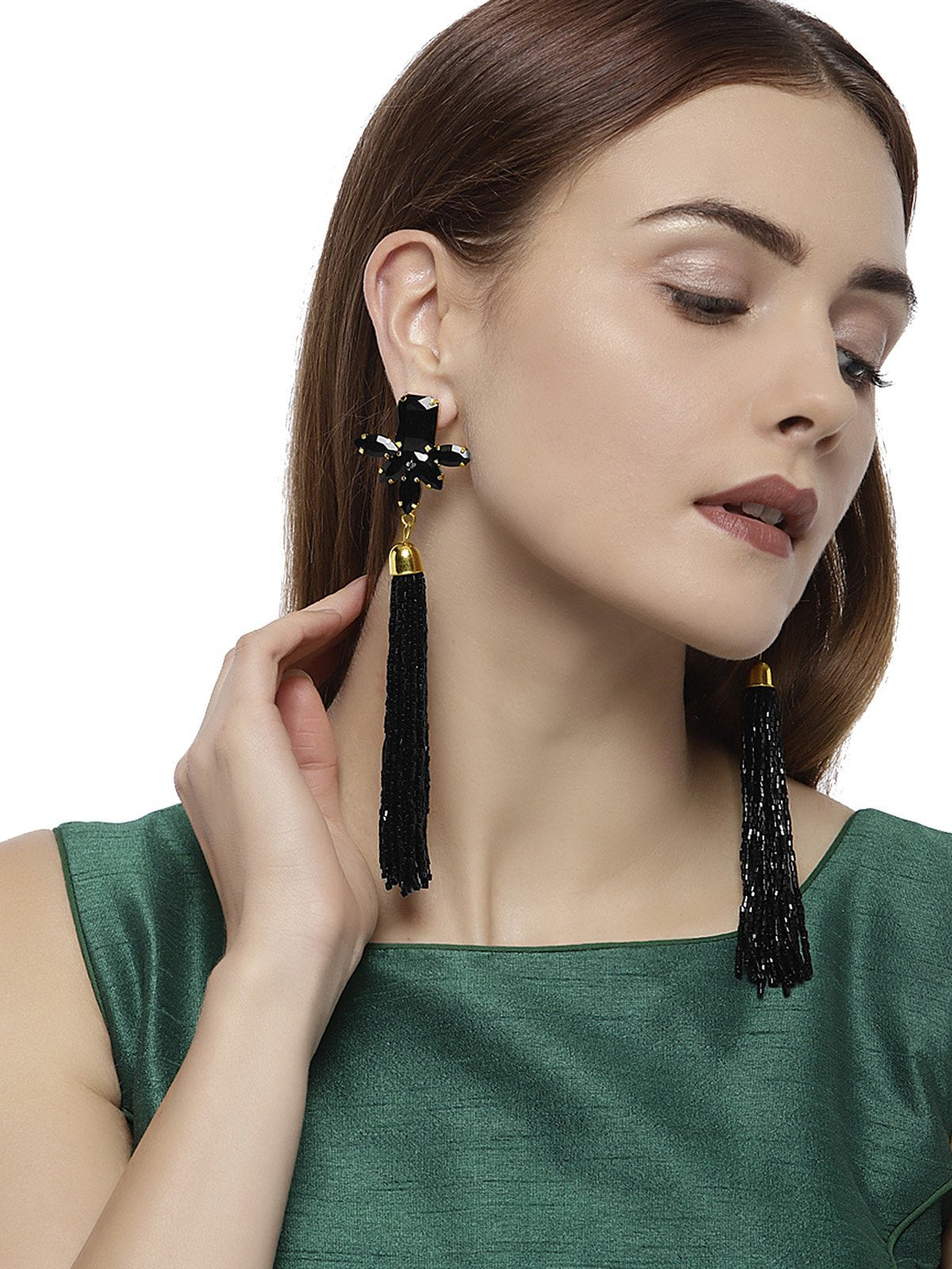 Sparkling Black Crystals Fashion Forward Tassel Earring