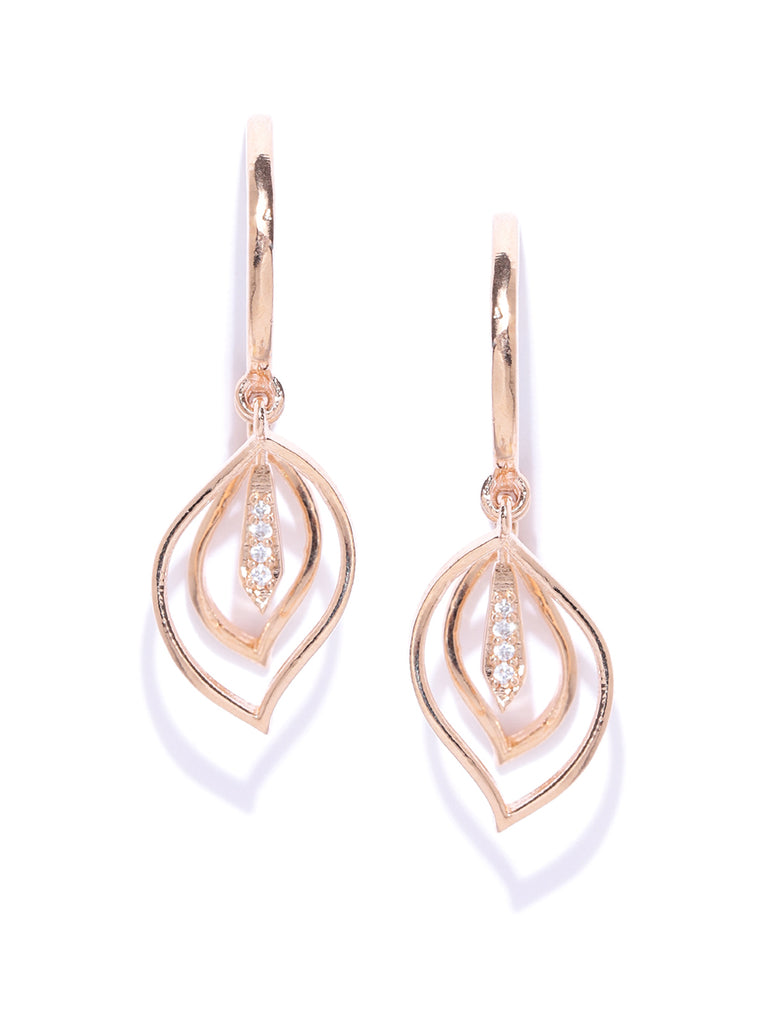 Zaveri Pearls Cubic Zirconia Studded Rose Gold Charm Dangler Earring