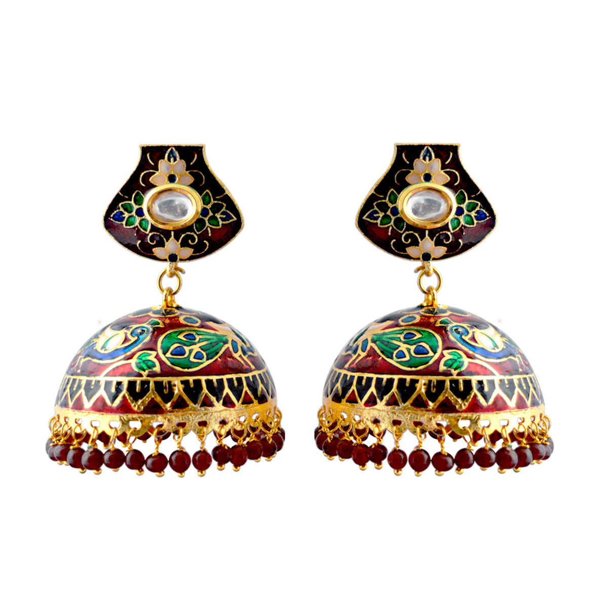 Mk Jewellers Green And Maroon Meenakari Dome Jhumka Earring-MK JEWELLERS1-Earring
