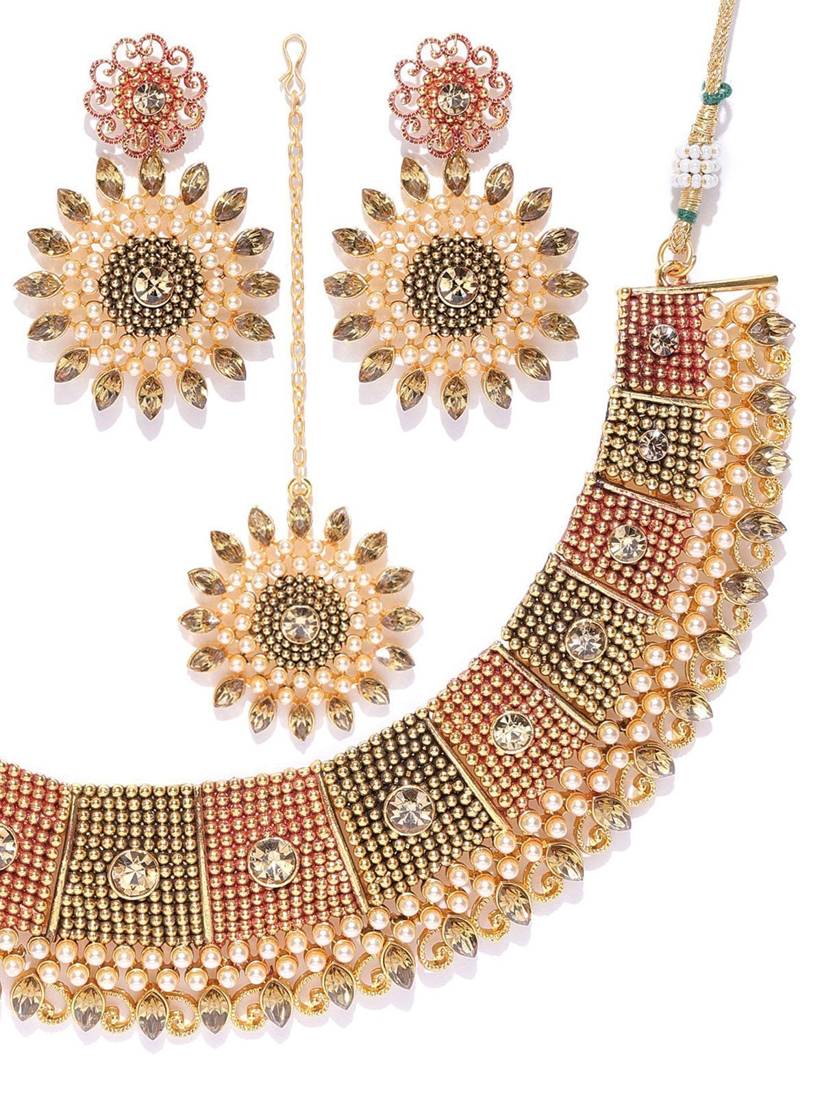 Zaveri Pearls Beautifully Enamelled And Pearls Studded Necklace Set