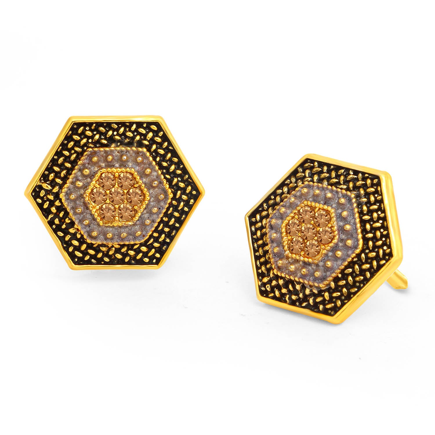 Sukkhi Precious LCT Stone Gold Plated Hexagon Blue Mint Meena Collection Stud Earring For Women-SUKKHI1-Earring