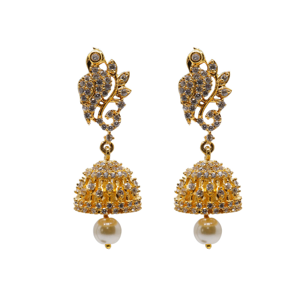 Peacock Design Ruby White Color American Diamond Stones with Pearl dropping Stud Jhumka
