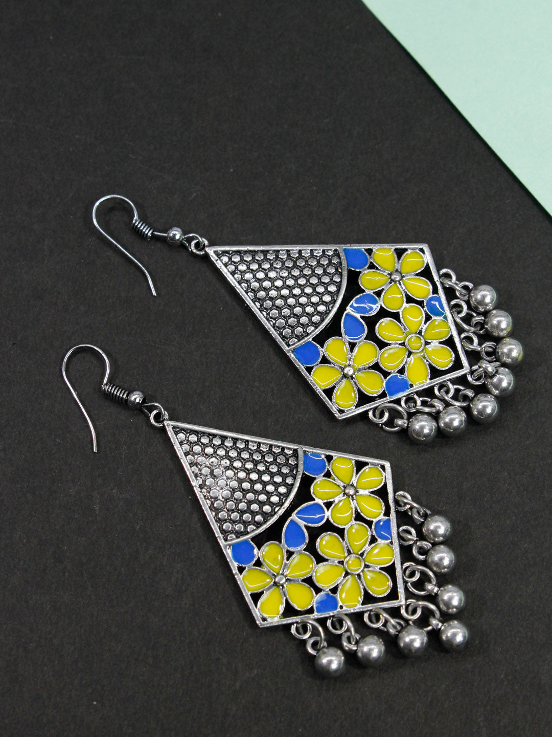 Aana Geometric Design Yellow And Blue Earring-AANA1-Earring