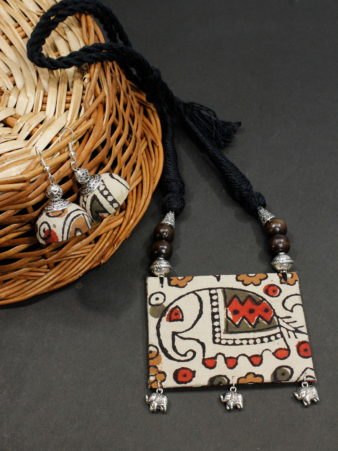 Kalamkari Fabric Printed Square Pendant Design Handmade Necklace Set-AVISMAYA1-Necklace Set