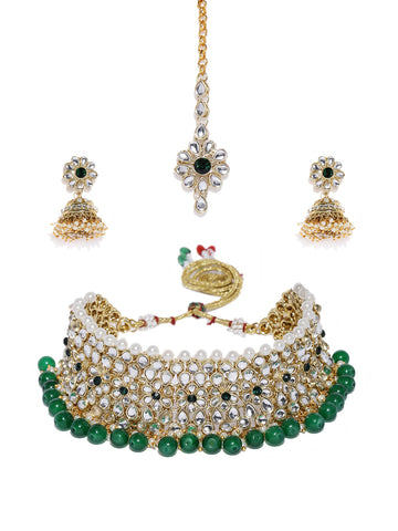 Zaveri Pearls Gold Tone Kundan And Green Beads Traditional Floral  Jewellery Set