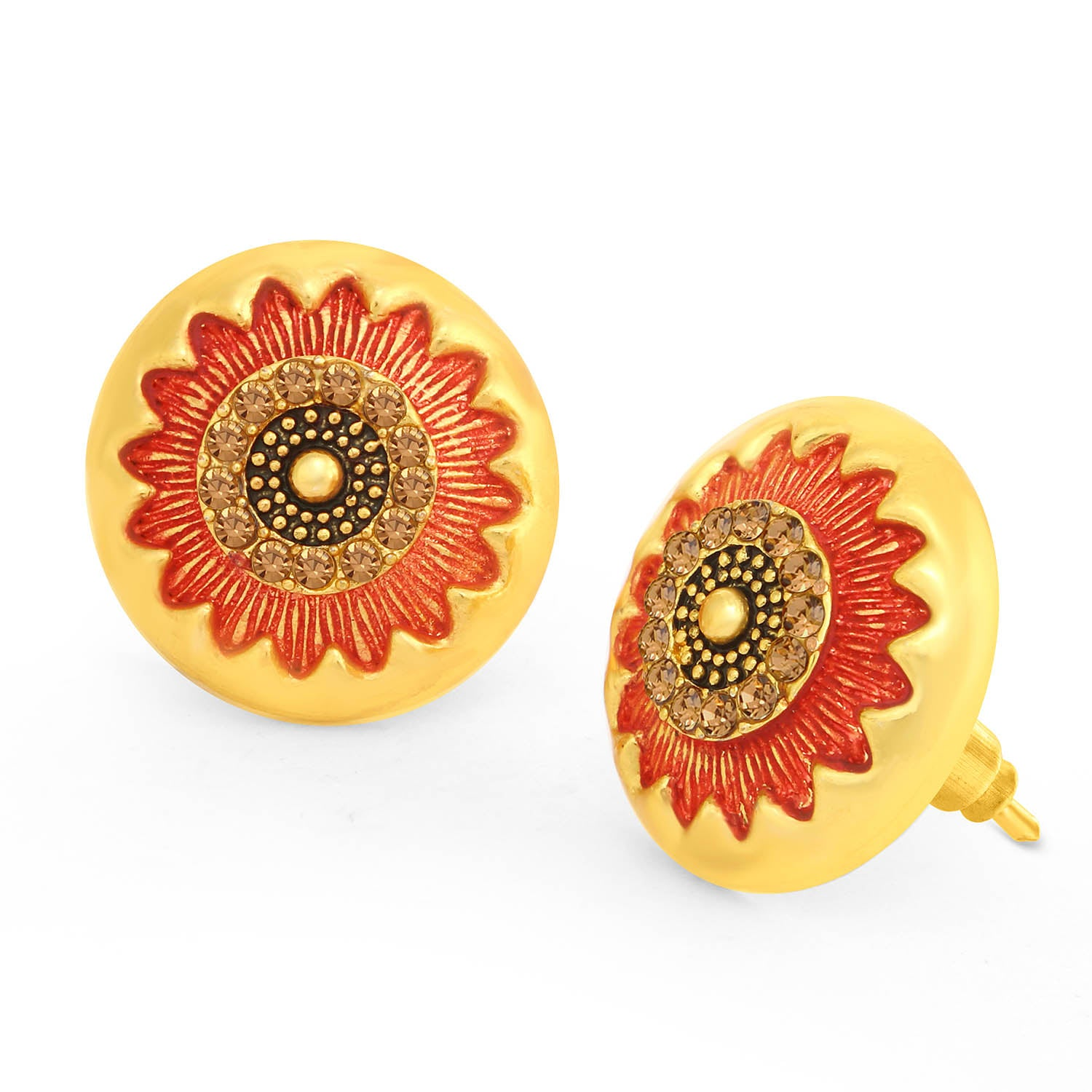 Sukkhi Spectacular LCT Stone Gold Plated Floral Red Mint Meena Collection Stud Earring For Women-SUKKHI1-Earring