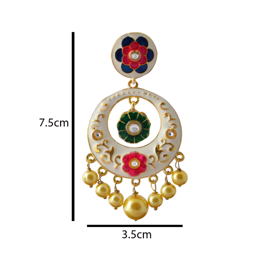 Floral Design White Color With Kundan Stone Dangler Earring-MK JEWELLERS1-Earring