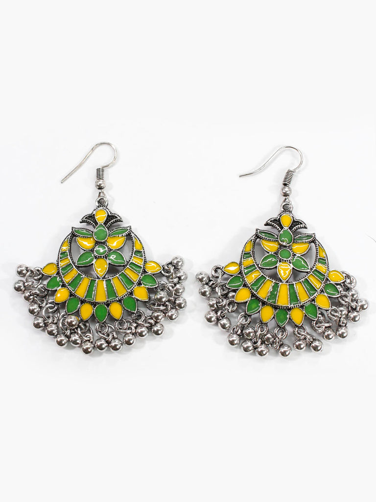 Aana Leaf Design Yellow And Green Earring-AANA1-Earring