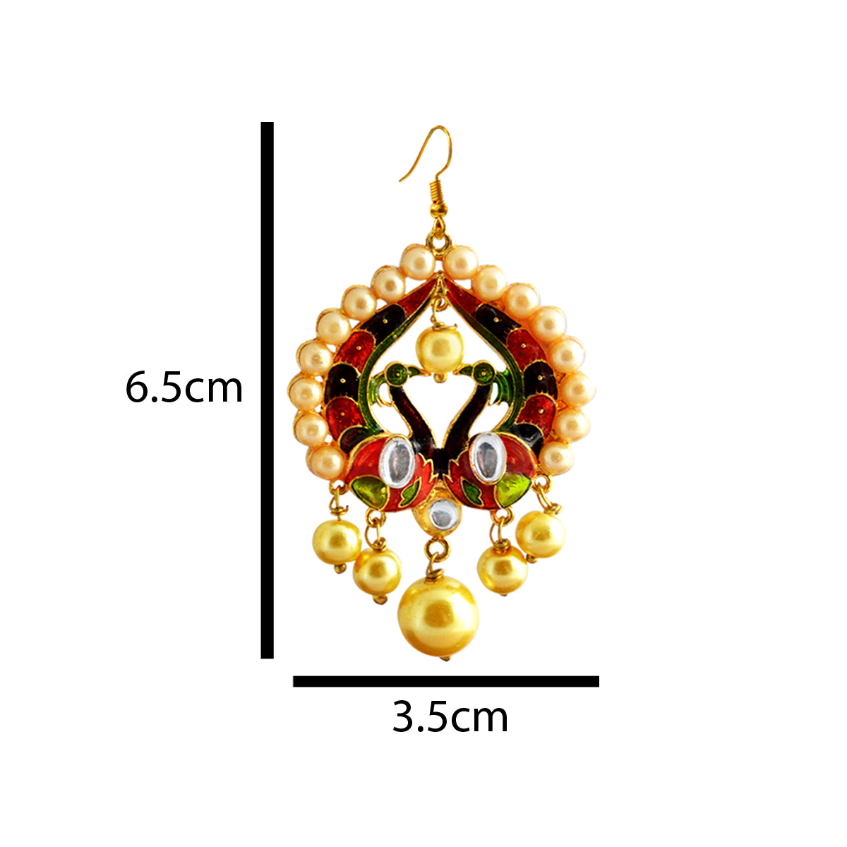 Mk Jewellers  Green And Red Meenakari Dual Peacock Pearl Series Dangler Earring-MK JEWELLERS1-Earring