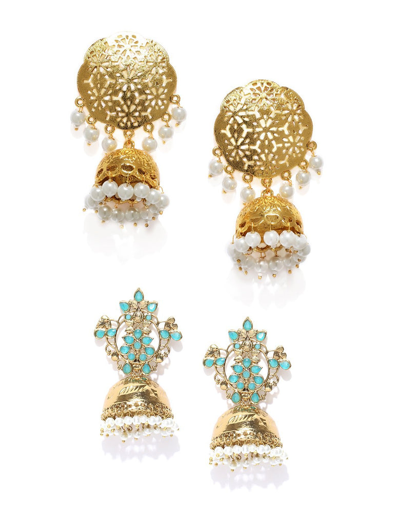 Combo Of 2 Gold Tone Traditional Jhumka Earrings