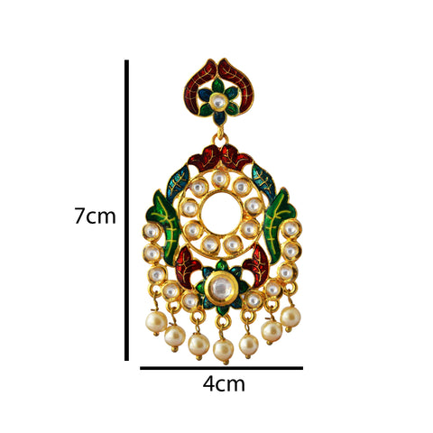 Green And Maroon Meenakari Kundan Series Floral Frame Dangler Earring