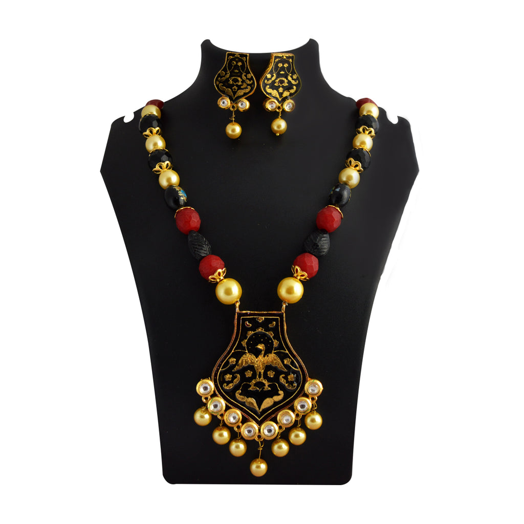 MK Jewellers Multicolor Traditional Bird Design With Kundan Stone And Pearls Meenakari Necklace Set-MK JEWELLERS-Necklace Set