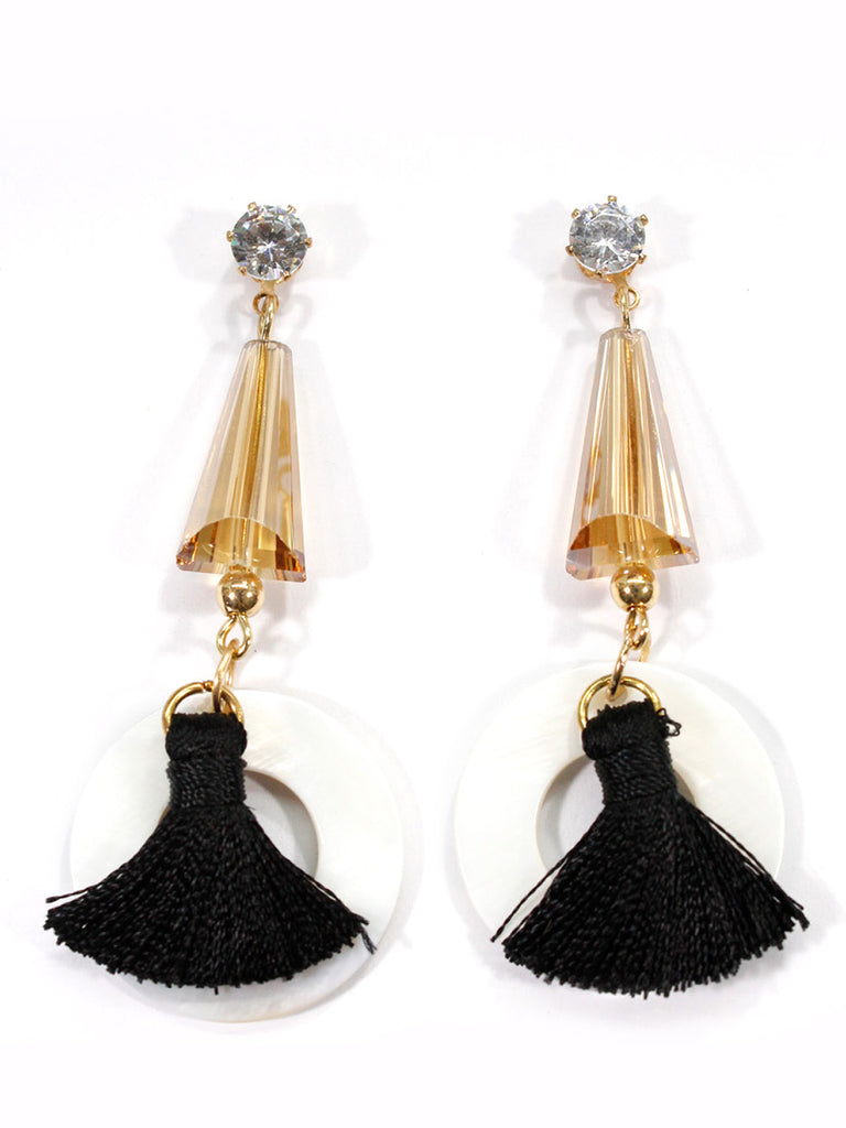 Aana Gold Plated Black Color Fabric Drop Earring-AANA1-Earring