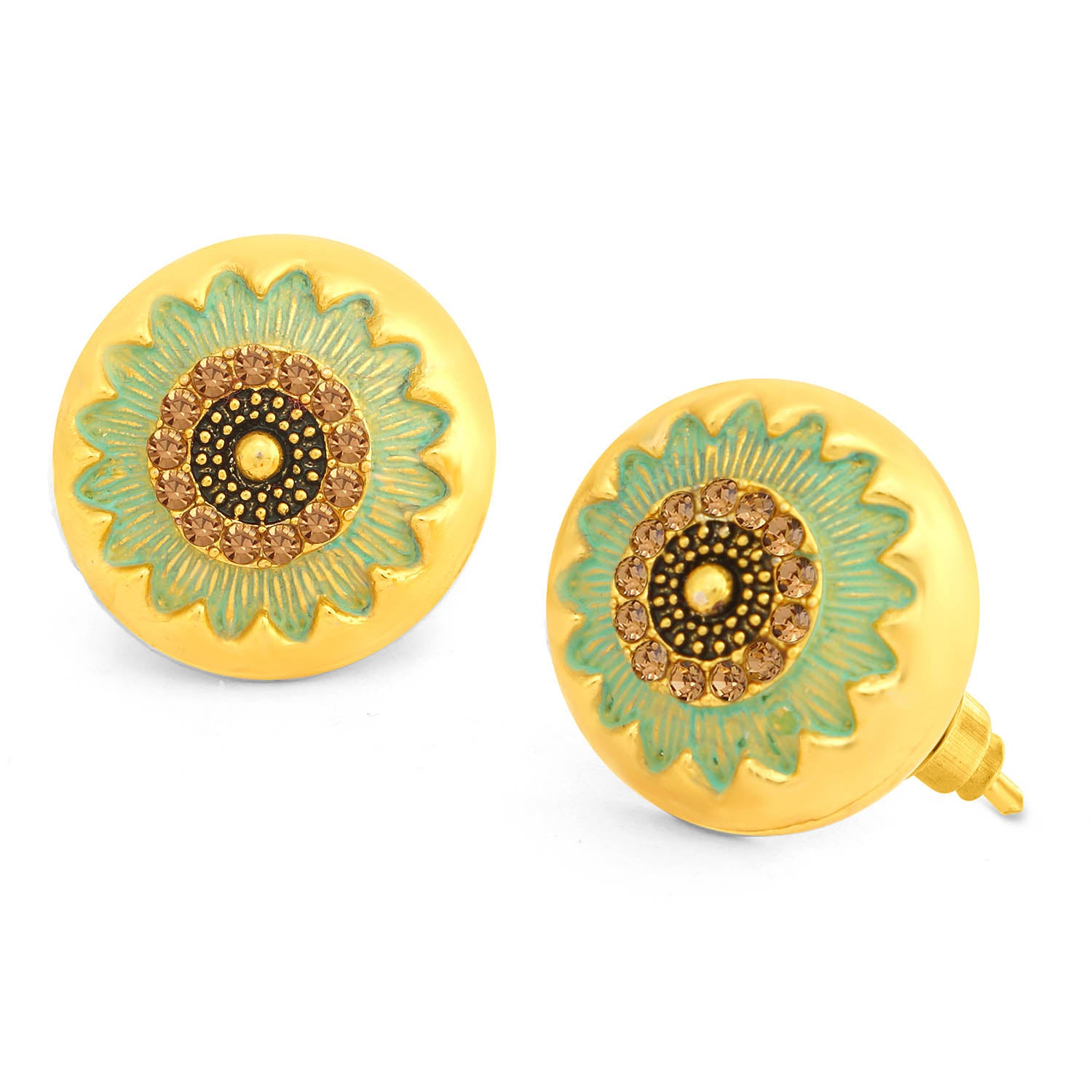 Sukkhi Lovely LCT Stone Gold Plated Floral Sky Blue Mint Meena Collection Stud Earring For Women-SUKKHI1-Earring
