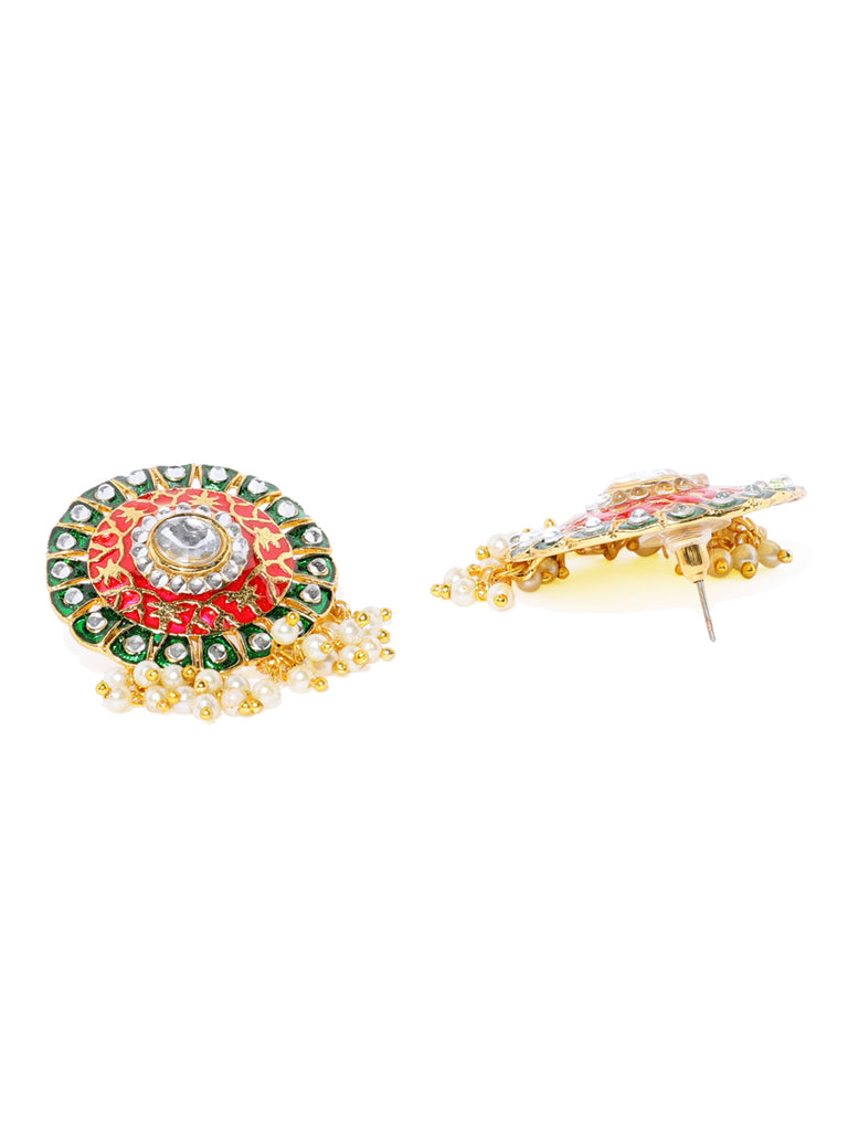 Zaveri Pearls Gold Tone embellish With Kundan And Meenakari Earring And Finger Ring Set