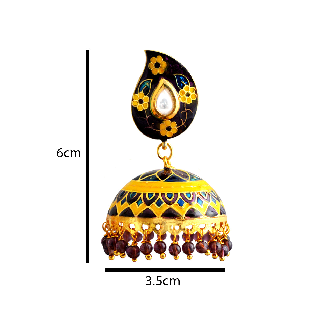 MK Jewellers Dome Design  Purple And Yellow Color With Kundan Stone Meenakari Jhumka Earring-MK JEWELLERS1-Earring