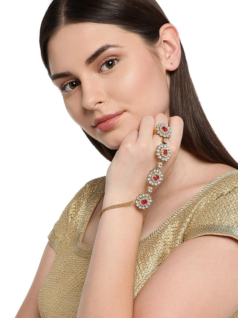 Gold Tone Kundan And Pearl Studded Ring Bracelet