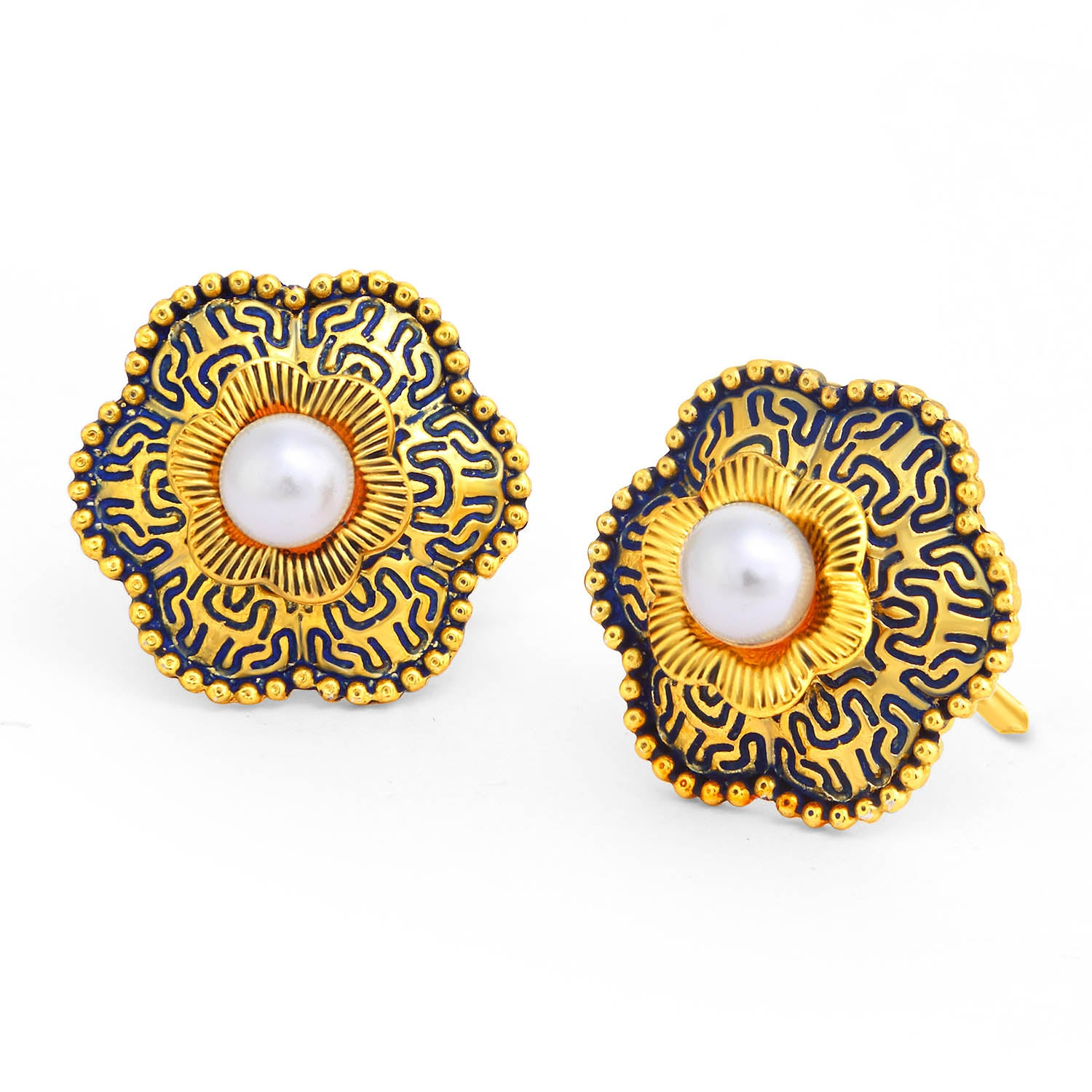 Sukkhi Classy Floral Gold Plated Pearl Purple Mint Meena Collection Stud Earring For Women-SUKKHI1-Earring
