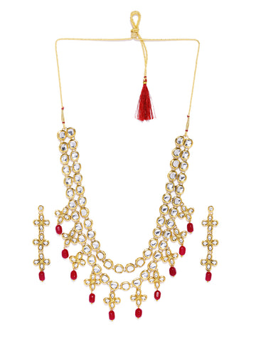 Zaveri Pearls Gold Tone Traditional Kundan And Dangling Beads Necklace Set
