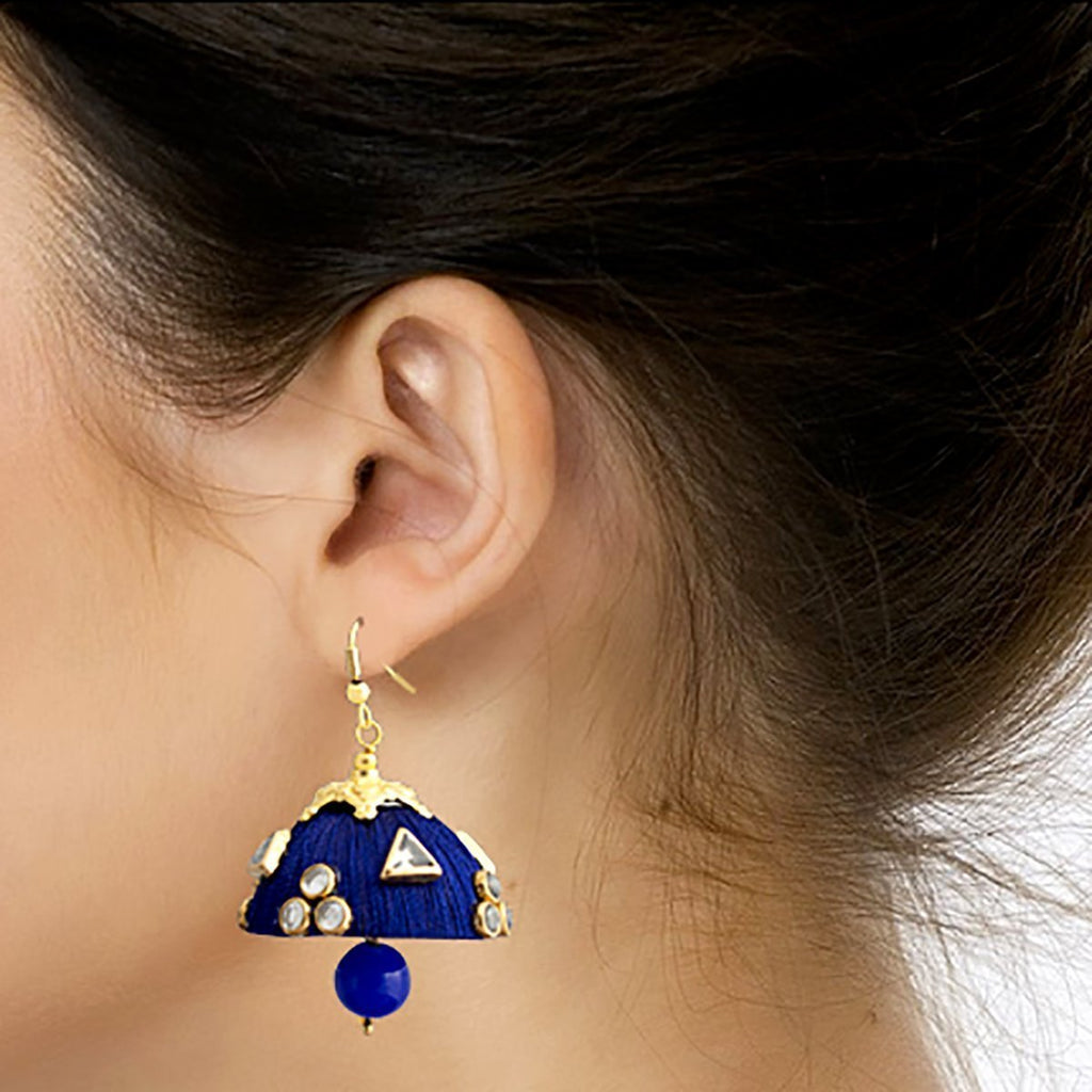 Gorgeous Dangling Drop Beads Blue Silk Tokri Jhumki Earring