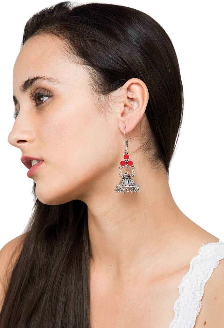 Silver And Red Colour Designer Oxidized  Hook Jhumka Earring