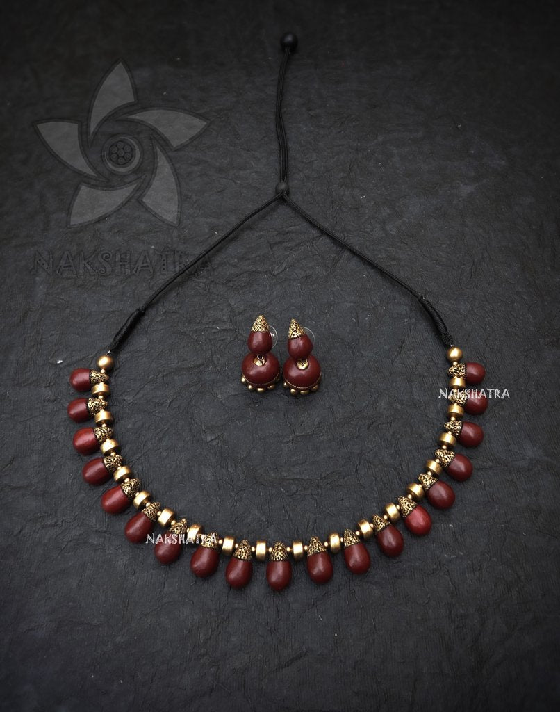 Nakshatra Terracotta Brown Colour Choker Necklace Set